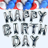 """16"""" Silver """"HAPPY BIRTHDAY"""" Letters Alphabet Foil Balloons Set Party Decoration"""