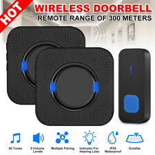 AU Wireless Door Bell 55 Chimes Waterproof Doorbell Plugin Receivers 300M Ranges