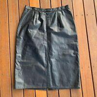Vintage Size 12 Leather Skirt Australian Black Knee Length Cocktail Party