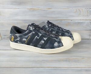 Adidas A Bathing Ape x Undefeated x Superstar80s 'Black Camo' Mens Sneackers