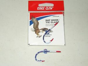 """THE ORIGINAL EAGLE CLAW  """"OLD GLORY""""  USA FLAG FISH HOOK HAT PIN / MONEY CLIP"""