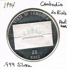 WORLD COINS - 1994 CAMBODIA 20 RIELS .999 SILVER PROOF - PREHISTORIC ANIMALS
