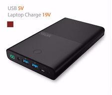 Vinsic 30000mAh Notebook Laptop Power Bank 4.5A 19V DC External Charger Battery