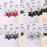 1 Pair Fashion Women Crystal Resin Flower Drop Ear Stud Dangle Earrings Jewelry