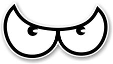 Pair Of Angry Cartoon EVIL Eyes Standard WHITE vinyl car Helmet Sticker decal
