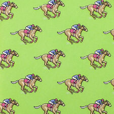 TOMMY HILFIGER Bright Green Taupe Pink DERBY RACE HORSE Silk Tie NWT
