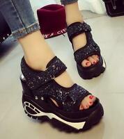 Womens Sandals Shoes Sequins High Wedge Platform Open Toe Sports Leisure Korean