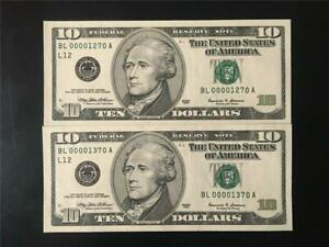 FANCY SANFRAN CONSECUTIVE SERIAL CHOICE GEM 65 PPQ 1999 $20 FR PAIR 1270-1370