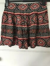 Miss Selfridge Black Coral Size 10 Paisley Moroccan Pattern Print Floral Skirt