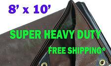 8x10 Brown Super Heavy Duty Waterproof Poly Tarp - ATV Woodpile Roof Cover