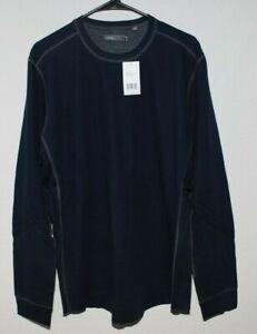 VINCE Mens Crewneck Long Sleeve Henley in Coastal Blue sz XL $125