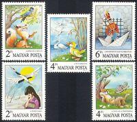 Hungary 1987 Fairy Tales/Crane/Duck/Soldier/Fox/Hare/Tortoise/Books 5v set n3986