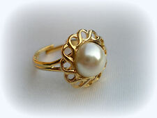 ADJUSTABLE SIZE 6/7/8/9 JUNE BIRTHSTONE VINTAGE FAUX PEARL GOLD GP RING 70'S NOS