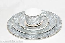 Royal Limoges Makassar 4-Piece Porcelain Tea Cup Plates Set, France, Grey/ Gold