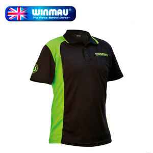 Winmau Wincool 2 Breathable Darts Shirt, Black & Green in 3XLarge