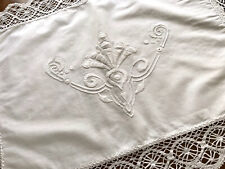 More details for vintage hand embroidered white cotton pillow cushion cover case lace edged 25x19