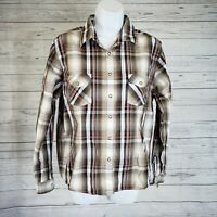 Panhandle Slim Womens Pearl Snap Shirt Sz Medium Black Brown Plaid Long Sleeve