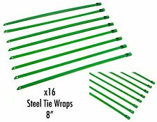 """QTY 16 8"""" UNIVERSAL STAINLESS STEEL ZIP TIE CABLE FOR EXHAUST HEADER WRAP GREEN"""