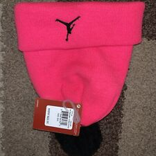 NWT NIKE Air Jordan Jumpman Youth Beanie Winter Hat Pink w/ Black Pom-Pom 9A1648