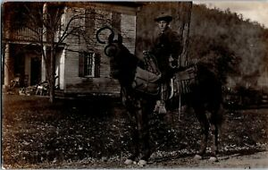 Real Photo Horseback RFD Mail Delivery Man At Willseyville NY New York RP D279