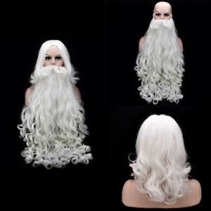 Christmas Santa Claus Wig Beard Long White Fancy Dress Apparel Accessories Decor
