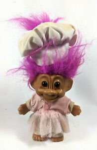 Vintage Troll Doll Master Chef with Pink Hair Pink Skirt & White Outfit 2001 Hat