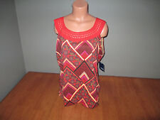 New Womens Size XL Basic Editions Orange Print Tank Top Shirt Stretch