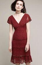 NEW Anthropologie Foxiedox wine Tiered Lace Velvet Trim Ruffle Hem Midi Dress XL