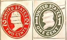 US embossed 1 cent & 2 cent stamp  VF RARE
