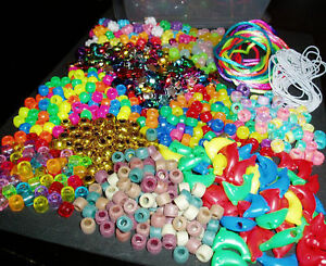 Pony Bead Making Kit with Elastic, Cord and 400 Beads