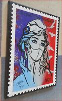 Marianne masquée, Edition numérotée sur toile, Erik-H + cadeau affiche