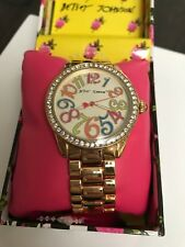 NWT Betsey Johnson Ivory Gold Boyfriend watch with multi color numbers