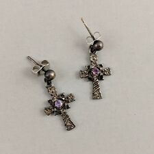 Vintage Avon Sterling Silver Cross Earrings Dangle Purple Rhinestone Drop Pair