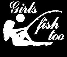 Girls Fish Too Vinyl Decal Sticker Car Truck Window