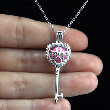 K28 Silver Pearl Bead Cage Heart Locket Necklace Key Pendant Stainless Chain