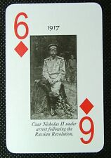 1 x playing card 1917 Czar Nicholas II Russian Revolution 6 Diamonds R1
