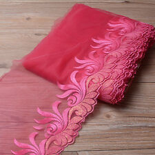 """E-Home - Delicate Rose Red Embroidered Tulle Lace Trim DIY Sew DIY Net 7.8""""/20cm"""