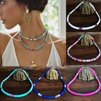 Boho Polymer Clay Elastic Necklace Colorful Beaded Stretch Disc Beads Jewelry