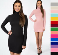 S M L Women's Turtleneck Long Sleeve Dress Soft Stretch Knit Solids Basic Fitted