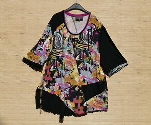 * SEMPRE PIU  * buntes Shirt zipfelig Wellensaum curvy girl
