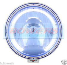"SIM 12V/24V 9"" ROUND NARROW PENCIL BEAM BLUE SPOTLIGHT SPOTLAMP + LED ANGEL EYE"