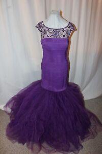 NWT Size 12 Sherri Hill 50014 purple mermaid long formal elastic prom gown