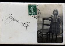 CORBEIL (91) ENFANT & CHAISE / Carte-photo studio L. PEJOUX à ERMONT en 1909
