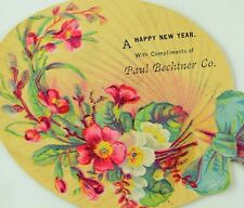 1870's-80's Lovely Die Cut Fan Paul Bechtner Happy New Year Victorian Card F83