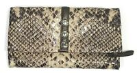 Brighton Nolita Trifold Wallet Organizer Snake Embossed Leather Brown
