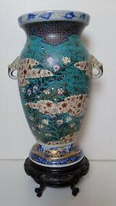 Antique Japanese Cloisonné pottery Vase by Takeuchi Chubei Japan 1880 of Meiji