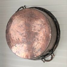 "Oversized Copper Hammered Round Cooler Ice Beverage Bucket Metal 23"" Diameter"