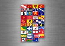 Planche autocollant sticker etiquette drapeaux region province etats france