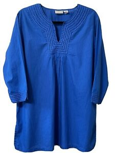 CHICO'S Top Women's Size 3 Blue Embroidered Design 3/4 Slv Striped Blouse Shirt