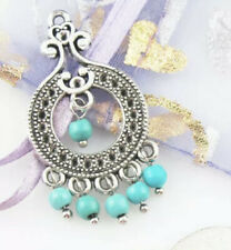 Antique  Silver with Turquoise Large Buttons/ Charms/ 2Pcs